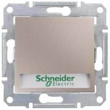 Кнопочный выключатель с подсветкой и держателем для надписи 10A серии Sedna. Цвет Титан (SDN1600368)