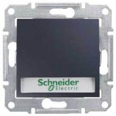 Кнопочный выключатель с подсветкой и держателем для надписи 10A серии Sedna. Цвет Графит (SDN1600370)