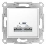 "SDN2710221 USB-розетка Sedna 2.1 A (2 входа), цвет ""Белый"""