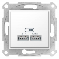 """SDN2710221 USB-розетка Sedna 2.1 A (2 входа), Колір """"Білий"""""""