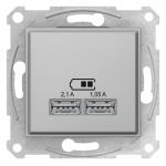 "SDN2710260 USB-розетка 2,1 А серии Sedna (2 входа), цвет ""Алюминий"""