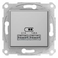 "USB-розетка 2,1 А серии Sedna (2 входа), цвет ""Алюминий"" (SDN2710260)"