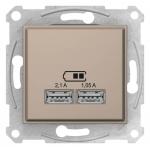 """SDN2710223 USB-розетка 2.1 А Sedna (2 входа), Колір """"Слонова кістка"""""""