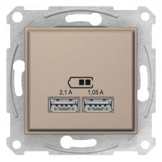 """USB-розетка 2.1 А Sedna (2 входа), цвет """"слоновая кость"""" (SDN2710223)"""