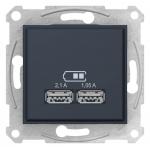 "SDN2710270 USB-розетка Sedna 2.1 A (2 входа), цвет ""Графит"""