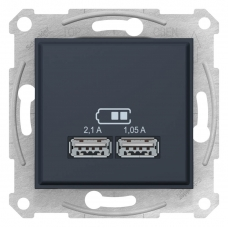 "USB-розетка Sedna 2.1 A (2 входа), цвет ""Графит"" (SDN2710270)"