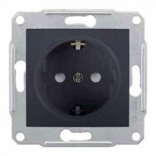 Розетка с заземлением и защитными шторками 16А Sedna. Цвет Графит (SDN3000170)