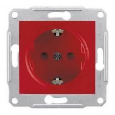 Розетка с заземлением и защитными шторками 16А Sedna. Цвет Красный (SDN3000341)