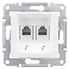 Телефонная розетка двойная RJ11 Sedna. Цвет Белый (SDN4201121)