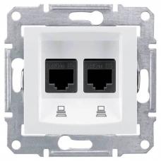 Компьютерная розетка двойная UTP RJ45 кат.6e неэкранированная Sedna. Цвет Белый (SDN4800121)