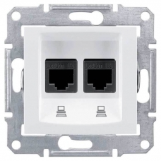 Компьютерная розетка двойная UTP RJ45 кат.5e неэкранированная Sedna. Цвет Белый (SDN4400121)