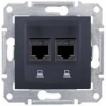 SDN4400170 Компьютерная розетка UTP RJ45 кат.5e неэкранированная Sedna. Цвет Графит
