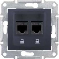 Компьютерная розетка двойная UTP RJ45 кат.5e экранированная Sedna. Цвет Графит (SDN4600170)