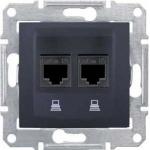 SDN5000170 Компьютерная розетка двойная UTP RJ45 кат.6 экранированная Sedna. Цвет Графит