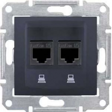 Компьютерная розетка двойная UTP RJ45 кат.6 экранированная Sedna. Цвет Графит (SDN5000170)