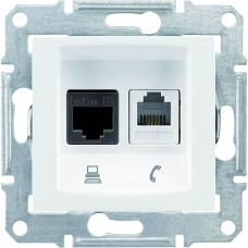 PC + телефонная розетка RJ11 + RJ45, кат. 6, неэкранированная Sedna. Цвет Белый (SDN5200121)