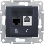 SDN5100170 PC + телефонная розетка RJ11 + RJ45, кат. 5e, неэкранированная Sedna. Цвет Графит