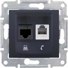 PC + телефонная розетка RJ11 + RJ45, кат. 5e, неэкранированная Sedna. Цвет Графит (SDN5100170)
