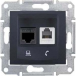 SDN5200170 PC + телефонная розетка (RJ11 + RJ45, кат. 6, неэкран.) Sedna. Цвет Графит