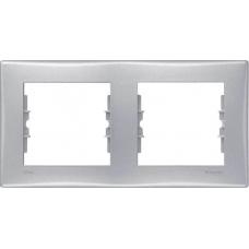 Декоративная рамка 2-постовая горизонтальная Sedna. Цвет Алюминий (SDN5800360)