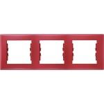 SDN5800541 Декоративная рамка 3-постовая горизонтальная Sedna. Цвет Красный