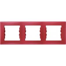 Декоративная рамка 3-постовая горизонтальная Sedna. Цвет Красный (SDN5800541)