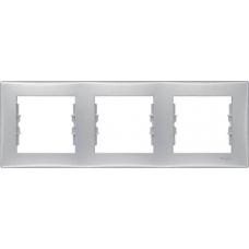 Декоративная рамка 3-постовая горизонтальная Sedna. Цвет Алюминий (SDN5800560)