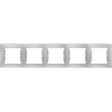 Декоративная рамка 5-постовая горизонтальная Sedna. Цвет Алюминий (SDN5800960)