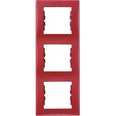 Декоративная рамка 3-постовая вертикальная Sedna. Цвет Красный (SDN5801341)