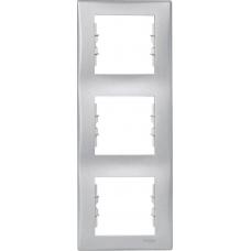 Декоративная рамка 3-постовая вертикальная Sedna. Цвет Алюминий (SDN5801360)