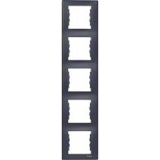 Декоративная рамка 5-постовая вертикальная Sedna. Цвет Графит (SDN5801570)
